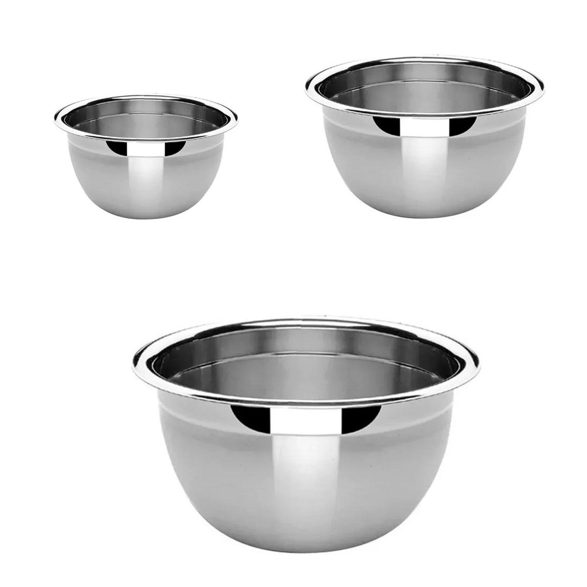 3 Tigelas Bowl Inox 16, 22 e 28Cm Pratica e Durável Facilite.ud