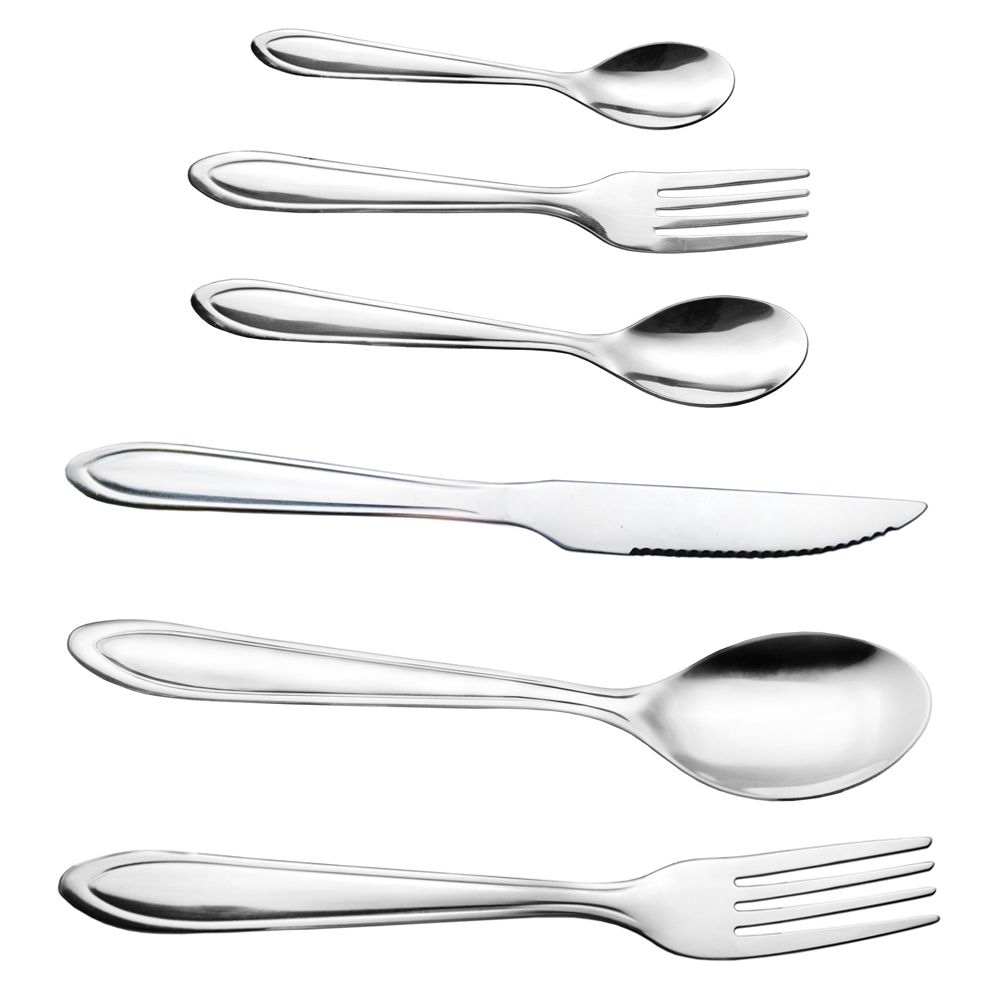 48 Garfos e Colheres de mesa sobremesa cha e Facas de Bife Inox Premier Ke Home casa restaurante