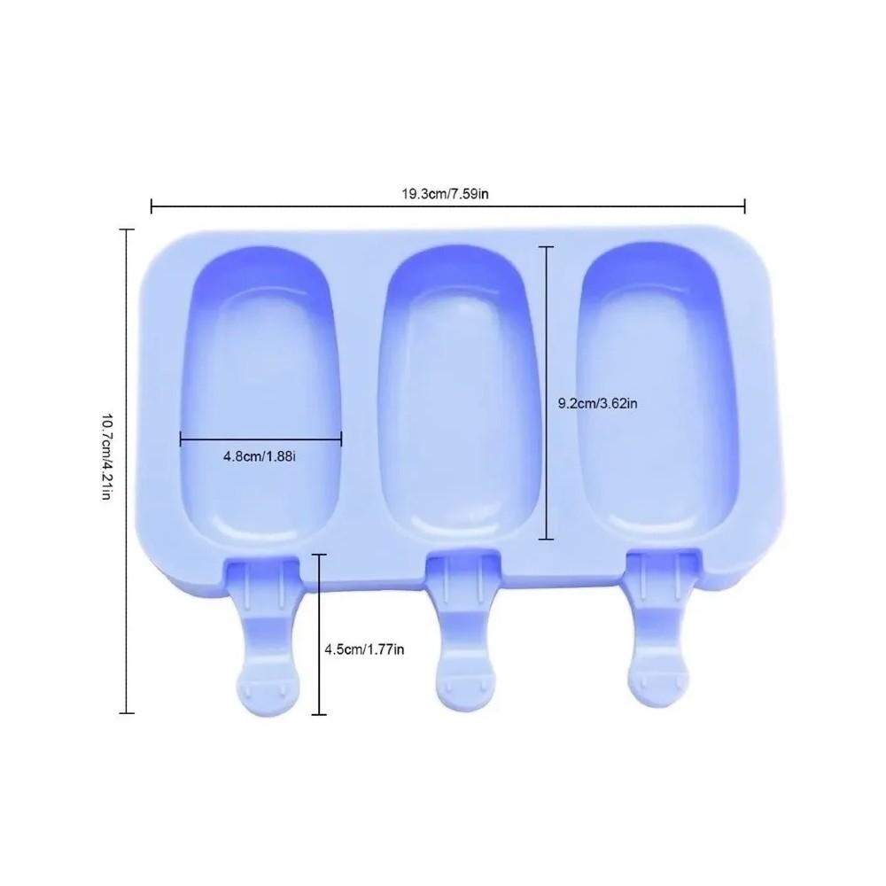 4 Formas De Picolé Em Silicone 3 Cavidades E 50 Palitos Ke Home 6750-4