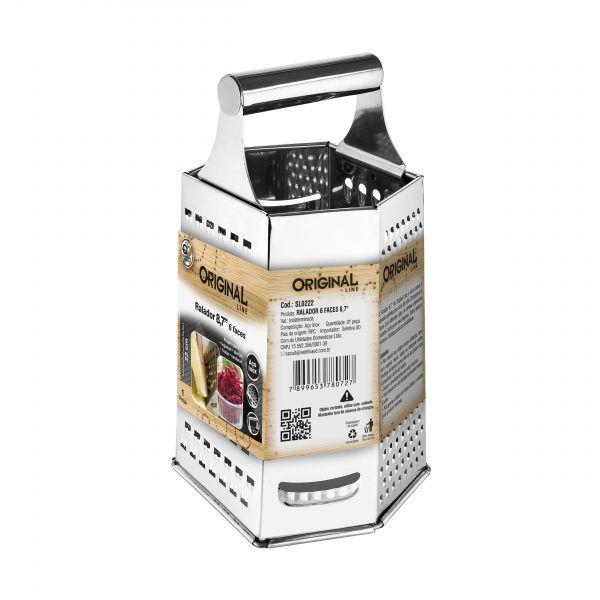 4 Raladores Inox 6 Faces Com Alça Auxiliar Manual Cozinha Original Line Sl0222-4