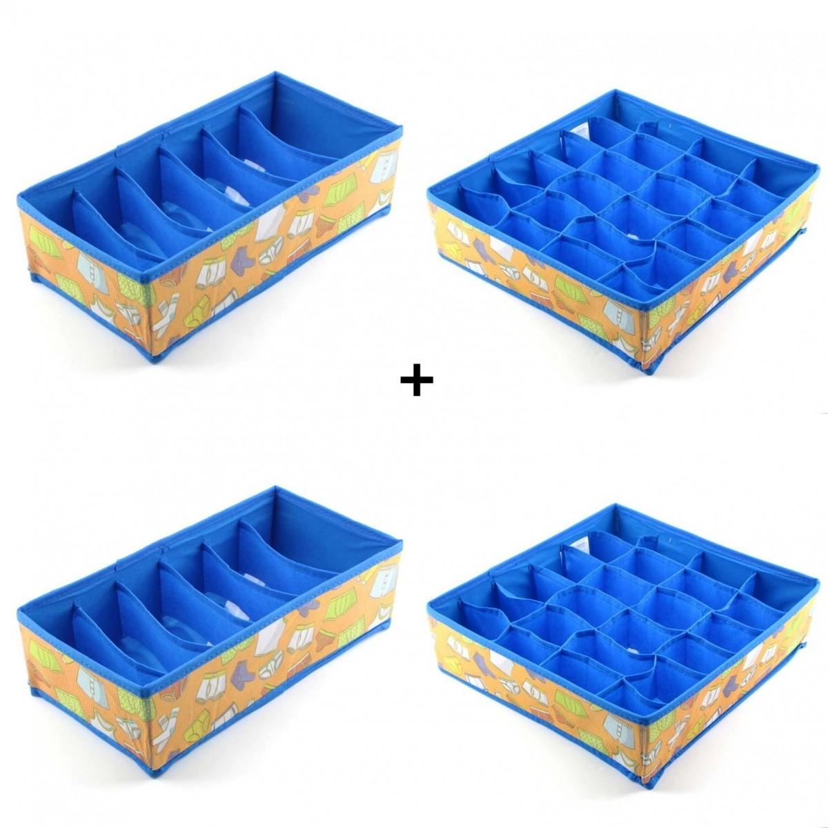 6551 6552 Kit 2 Organizador Calcinhas Meias Para Gavetas + 2 De Sutiã