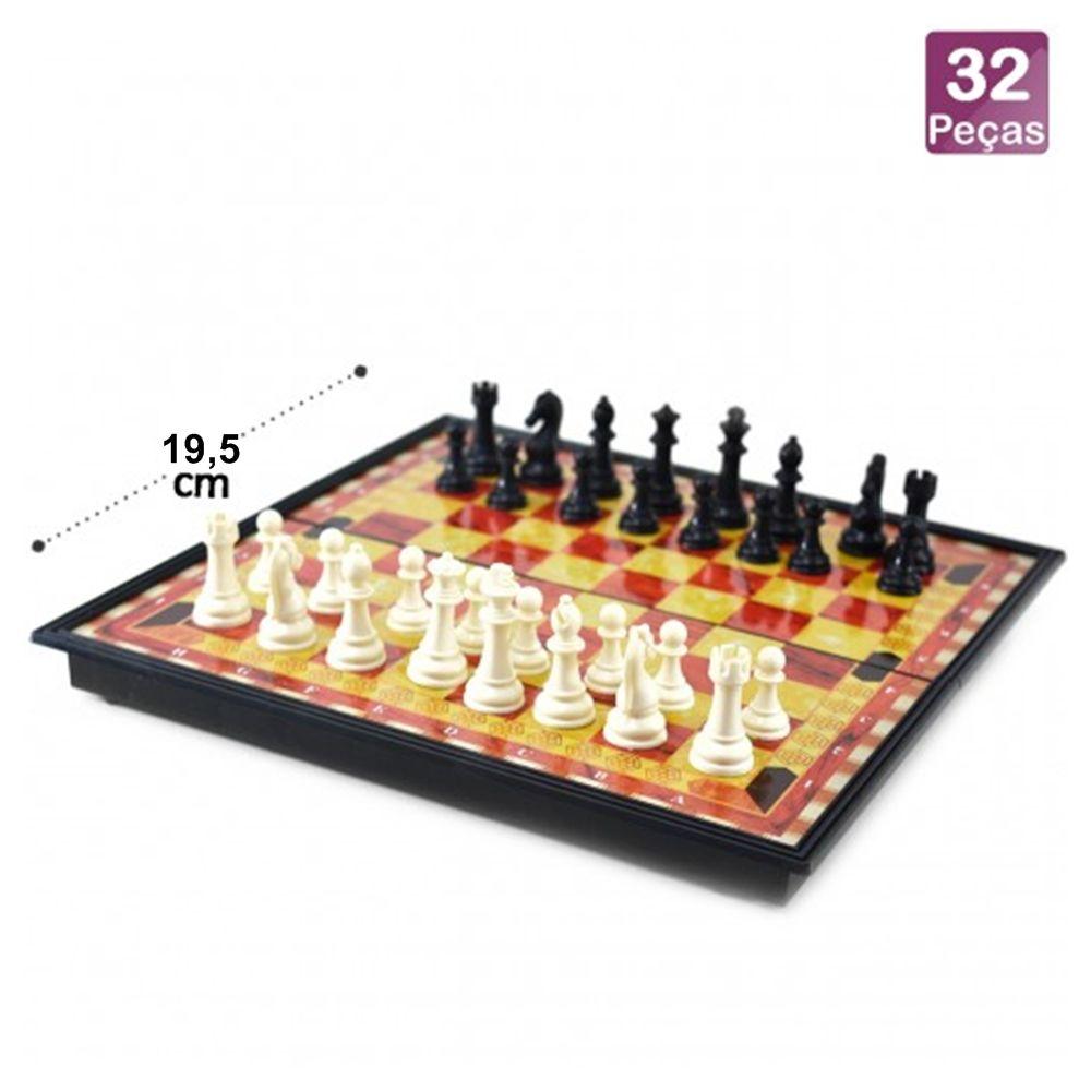 6 Jogos De Xadrez Tabuleiro Dobrável Magnético Numerado 19,5x19,5x3cm Casita IM42021LY-6