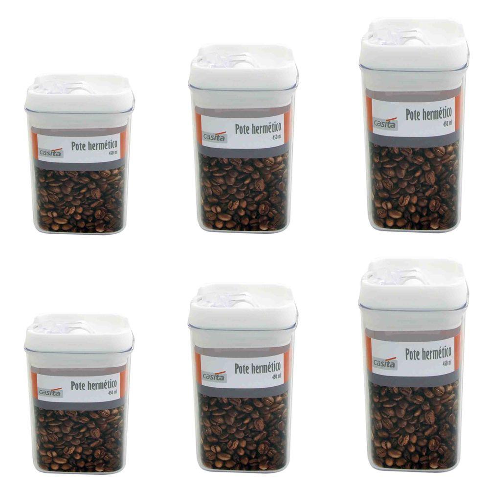 6 Potes hermético em poliestireno 2 300, 2 450 e 2 550ml Casita