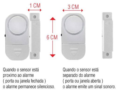 Alarme Sensor Magnético S/ Fio Residencial Porta Janela 6533