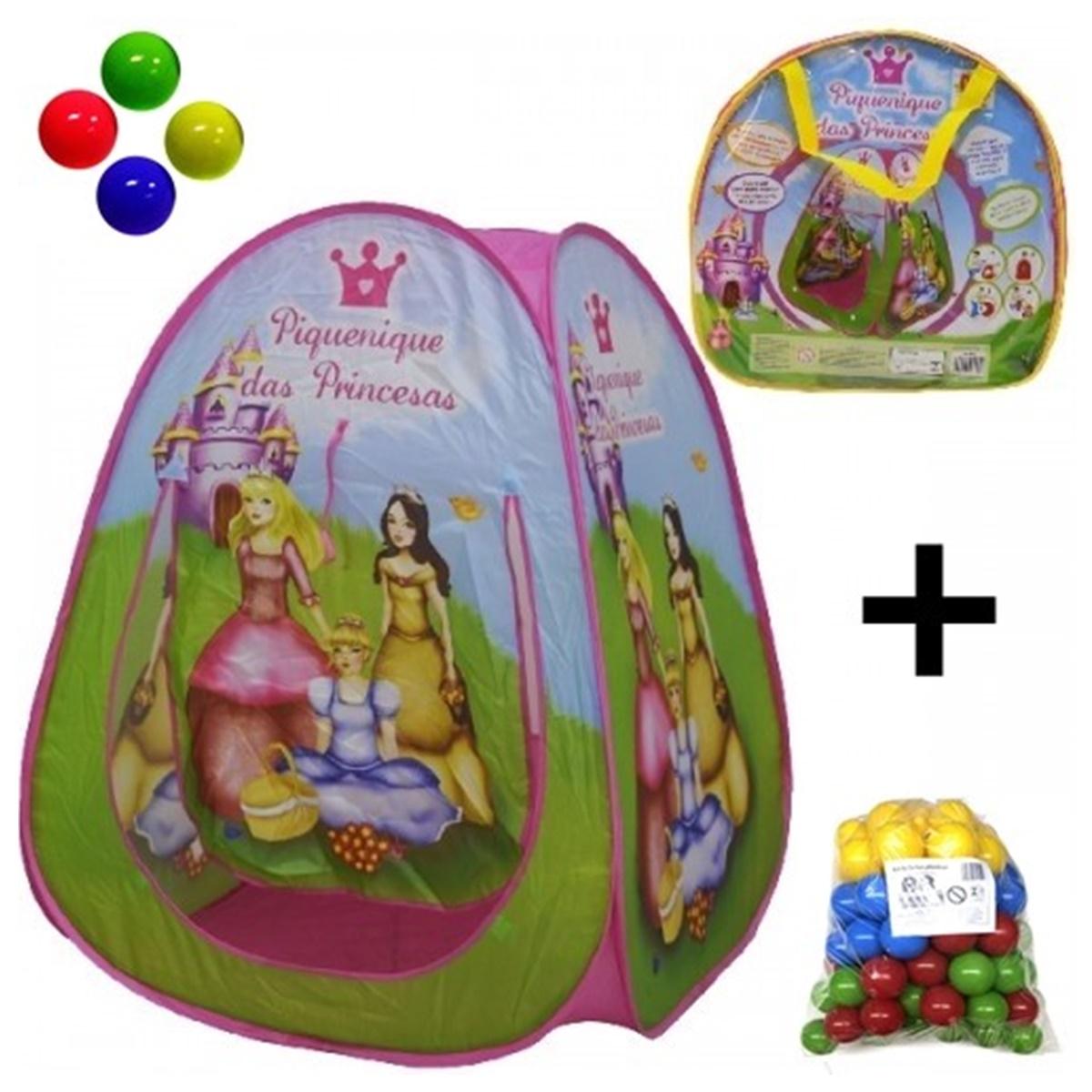 Barraca Toca Infantil + 50 Bolinhas Piquenique Princesas