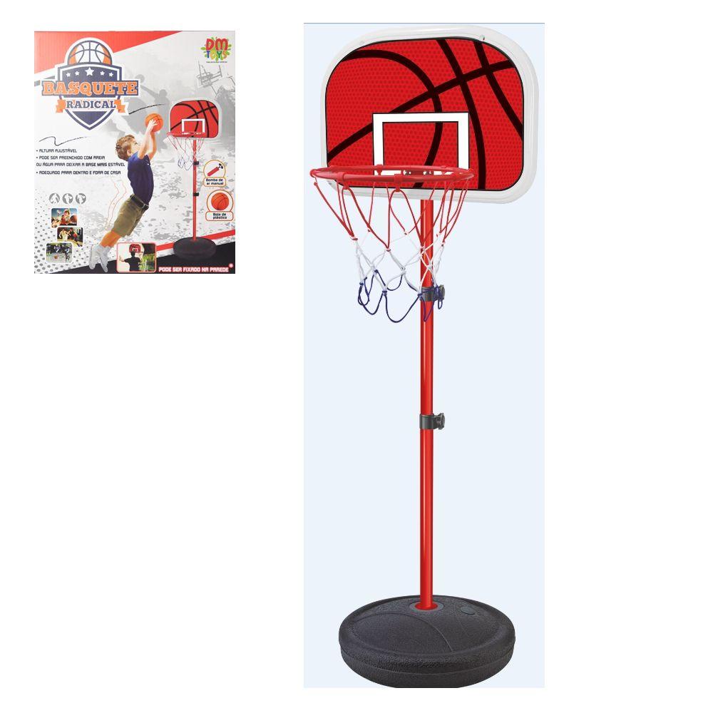 Basquete Radical Infantil Com Pedestal Ajustável Cesta Bola e inflador ate 139cm DMT5092