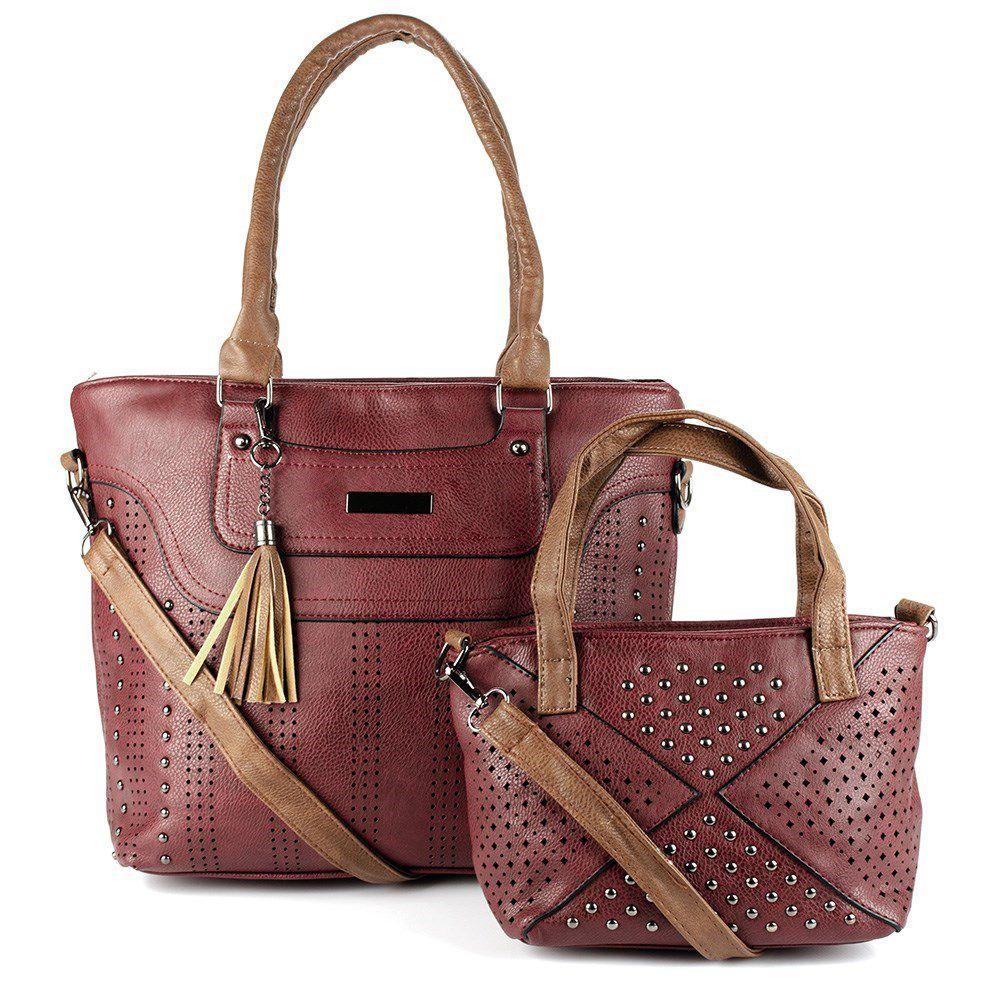Bolsa Feminina kit com 2 bolsas Alça Transversal e De Mão 4360#