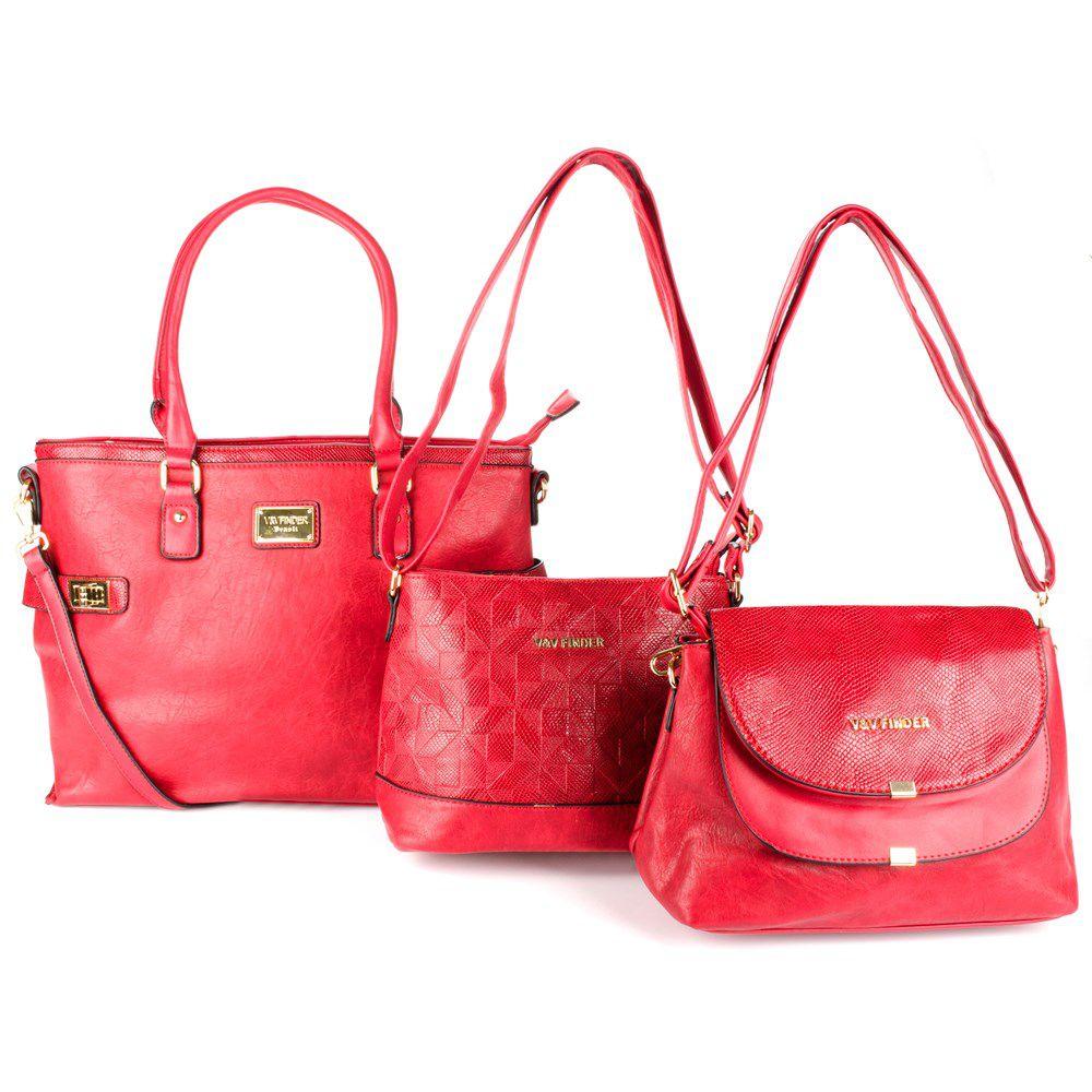 Bolsa Feminina kit com 3 bolsas Luxo V&V Finder VV-18230