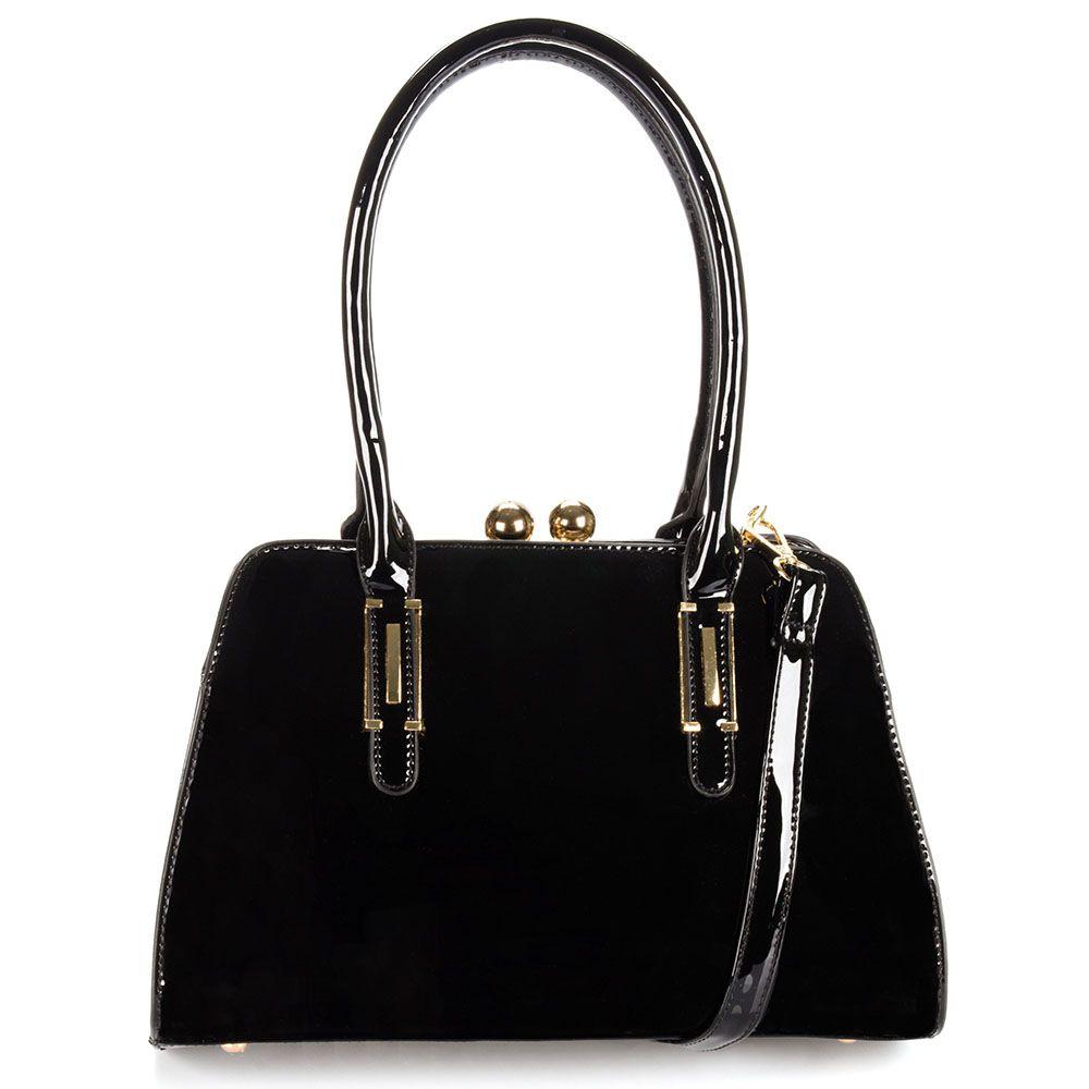 Bolsa Feminina luxo acabamento em verniz detalhes dourado fino acabamento K0260