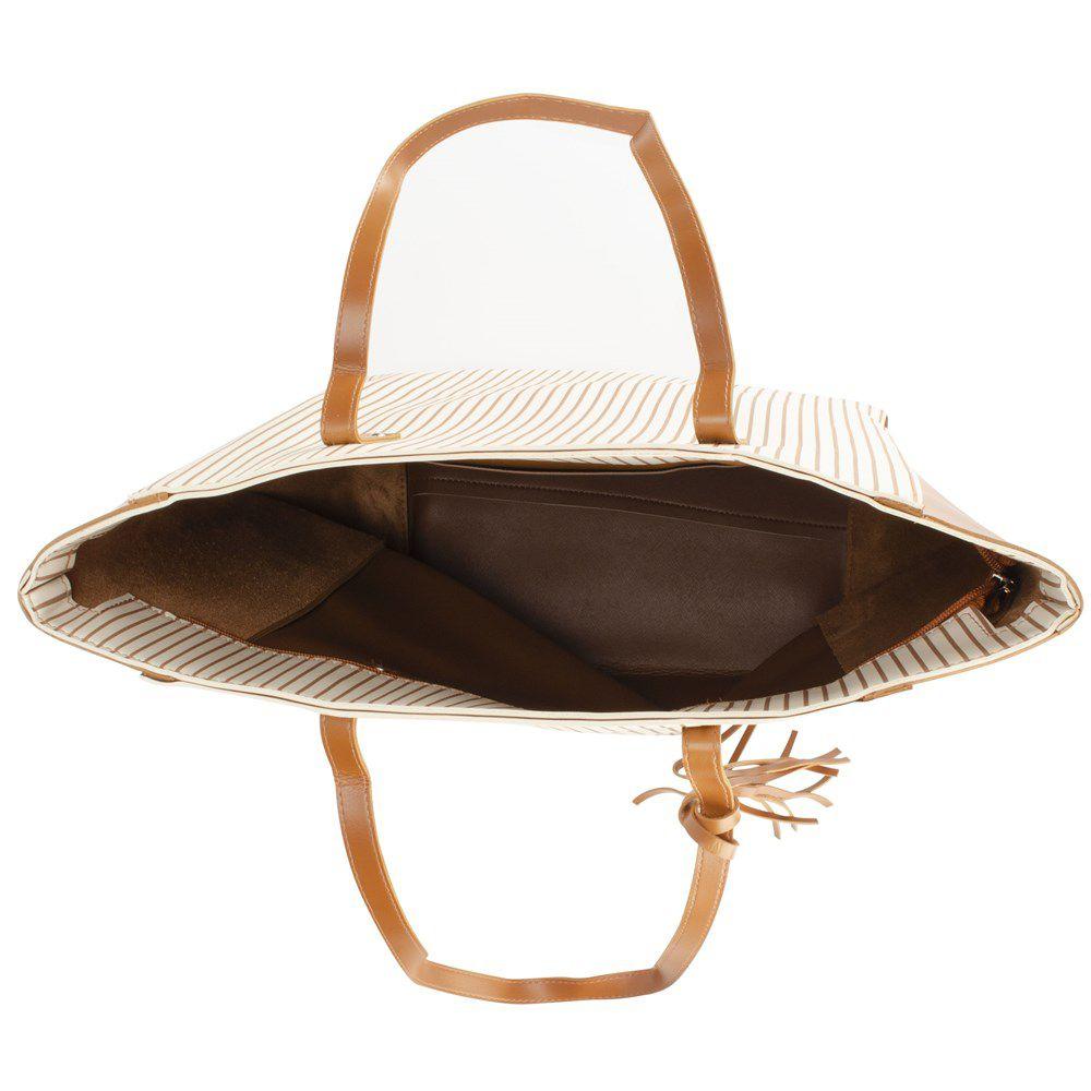 Bolsa Feminina Shopper alça de ombro estampa listrada BAGSS 150