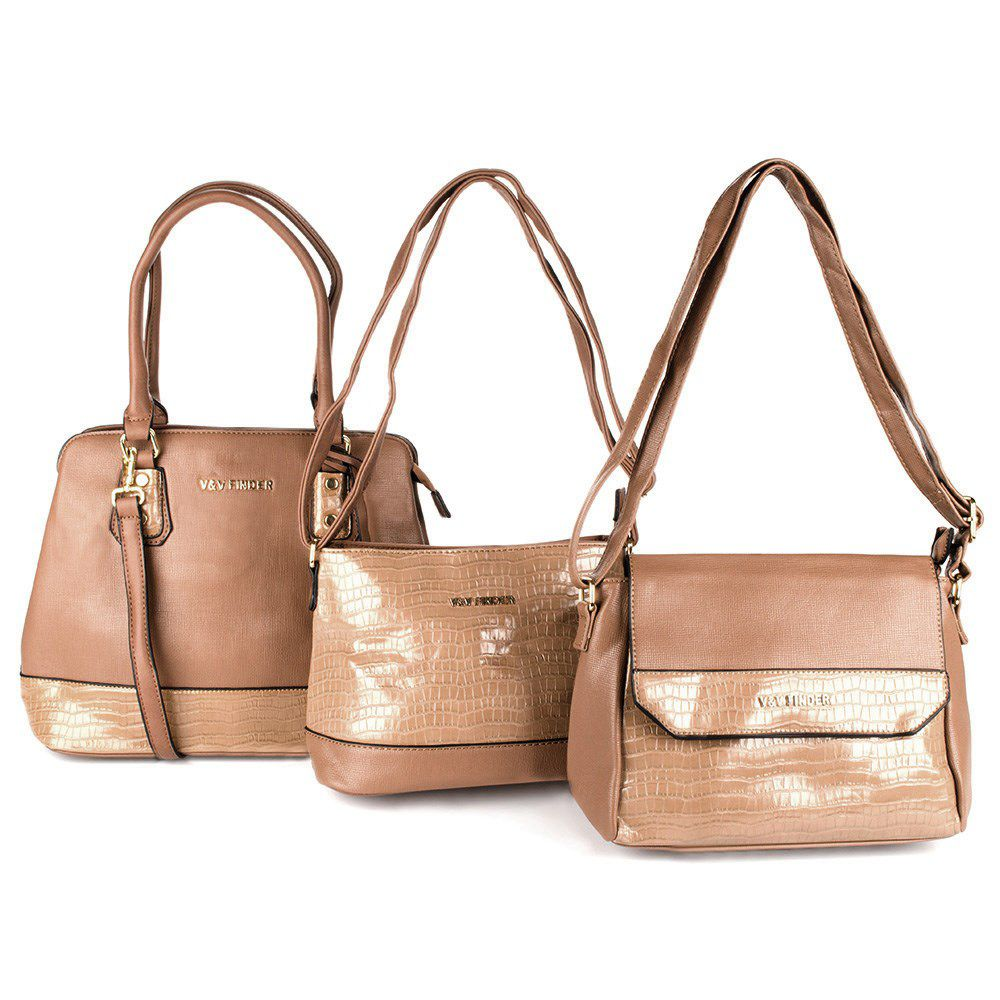 Bolsas Femininas Conjunto com 3 bolsas Luxo V&V Finder VV-18221