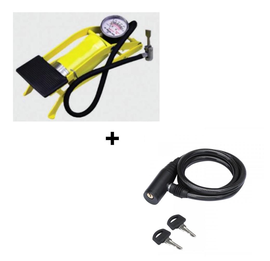 Bomba Ar Alta Pressão Pedal + Cadeado Para Bicicleta 80cm