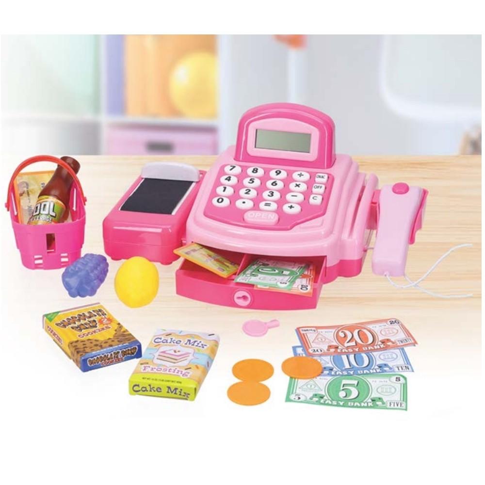 Caixa Registradora Com Luz Som e Acessórios 21 Pecas Rosa Infantil Inga IN13398