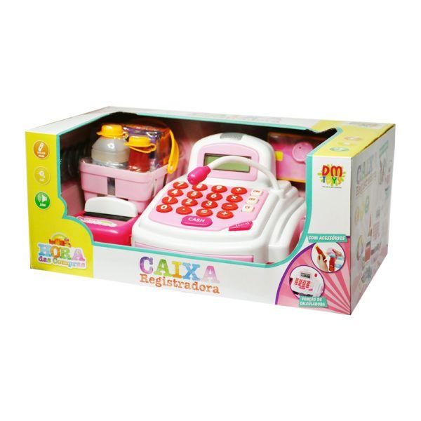 Caixa Registradora Com Luz Som e Acessorios 24 Pecas Rosa Inifantil DM Toys DMT3815