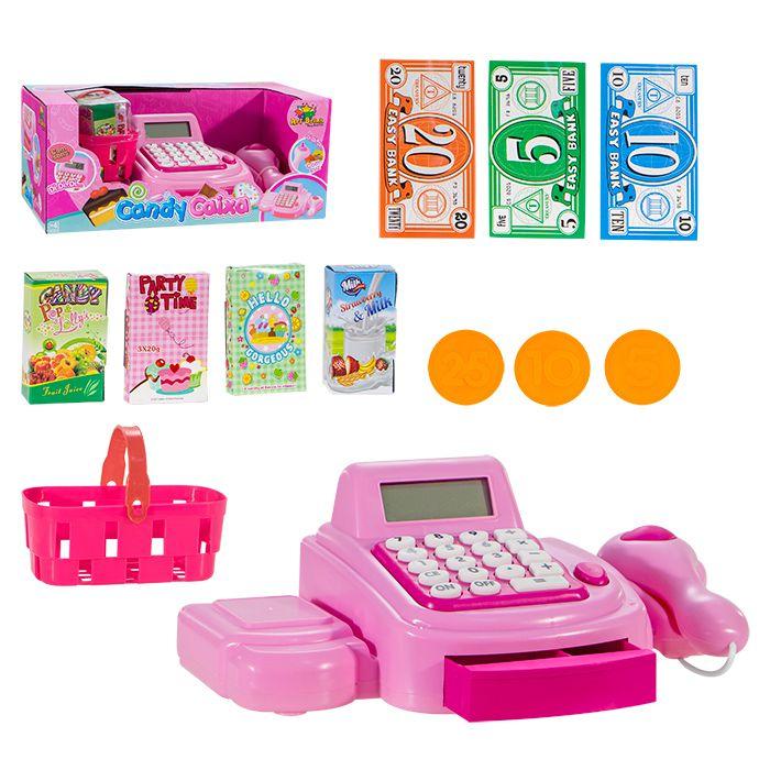 Caixa Registradora Infantil Rosa Com Luz E Som Caixa Inga IN13397