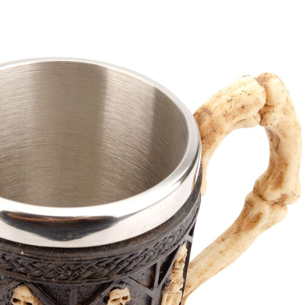 Caneca Caveira Viking Copo Chopp Cerveja Crânio Rock Festa 400ml OX-3492