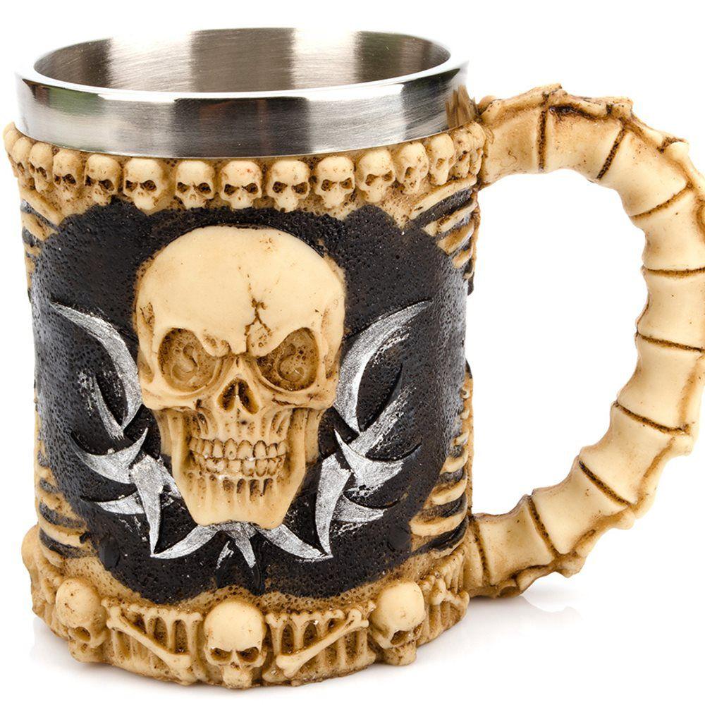 Caneca Caveira Viking Copo Chopp Cerveja Crânio Rock Festa 400ml OX-3494