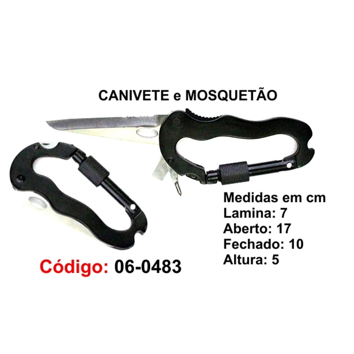 Canivete e Mosquetão Esportivo Caça Pesca Etc. 06-0483