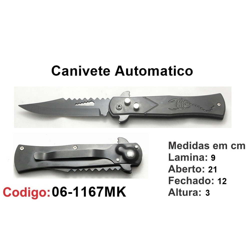 Canivete Esportivo Automático Caça Pesca Etc. 06-1167MK