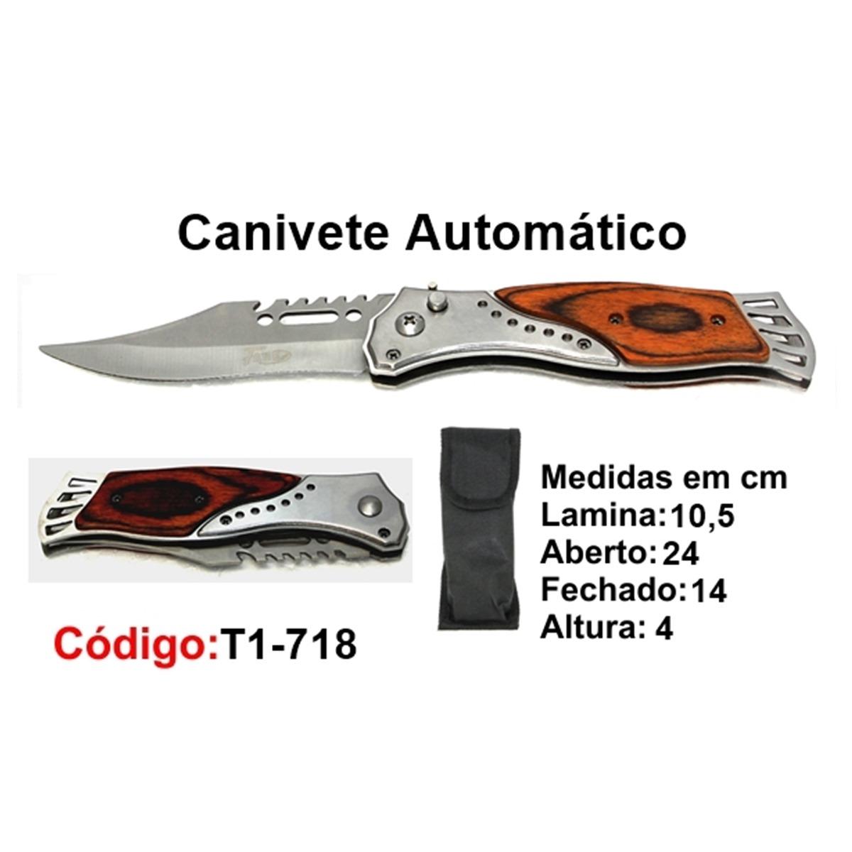 Canivete Esportivo Automático Caça Pesca Etc. T1-718