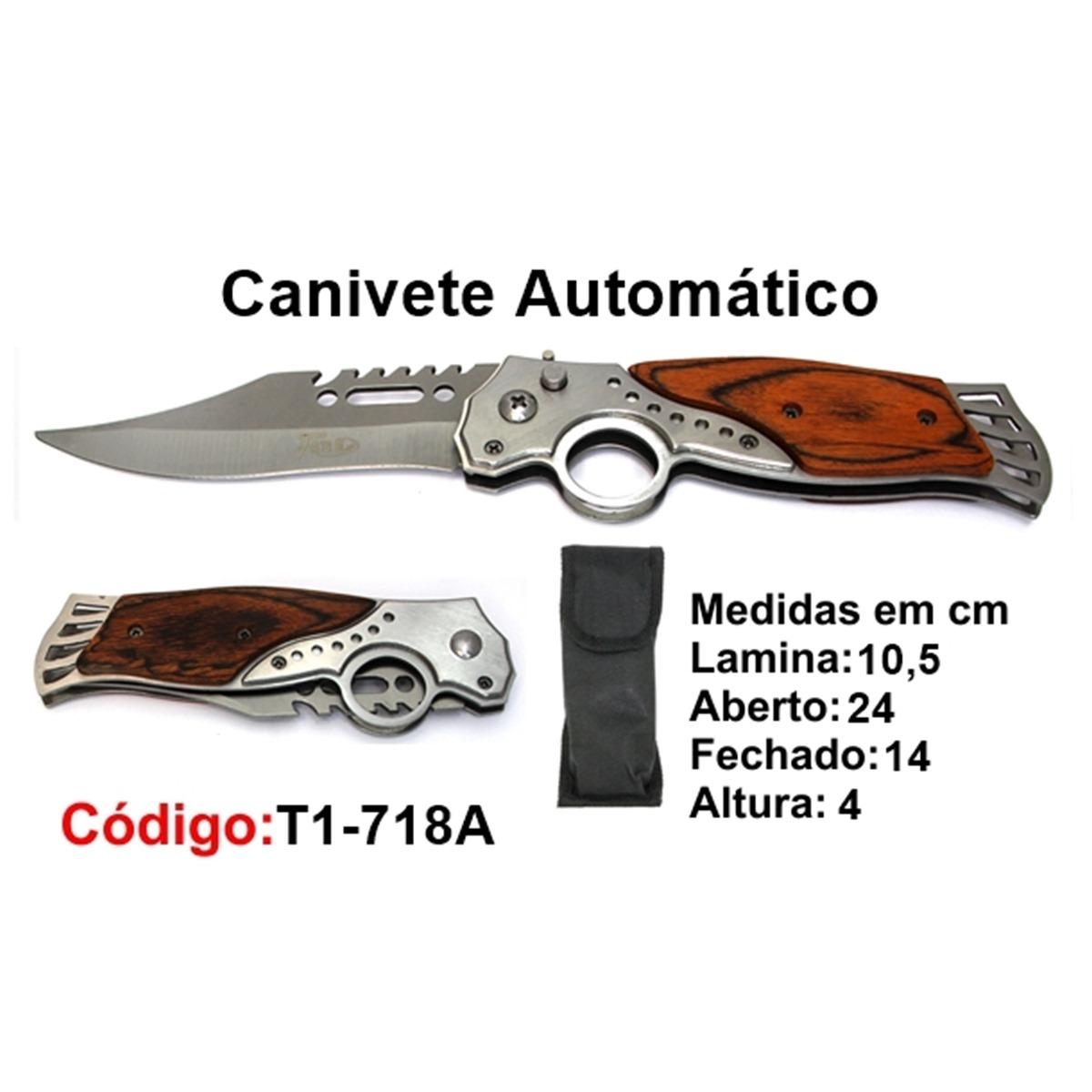 Canivete Esportivo Automático Caça Pesca Etc. T1-718A