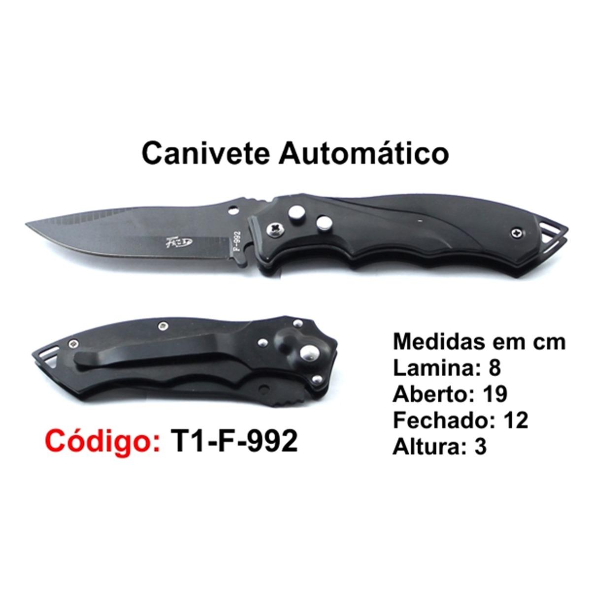 Canivete Esportivo Automático Caça Pesca Etc. T1-F-992