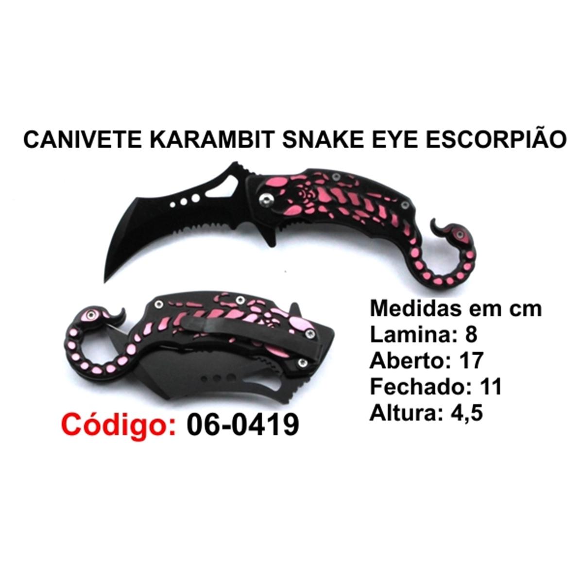 Canivete Karambit Snake EYE Caça Pesca Etc. 06-0419