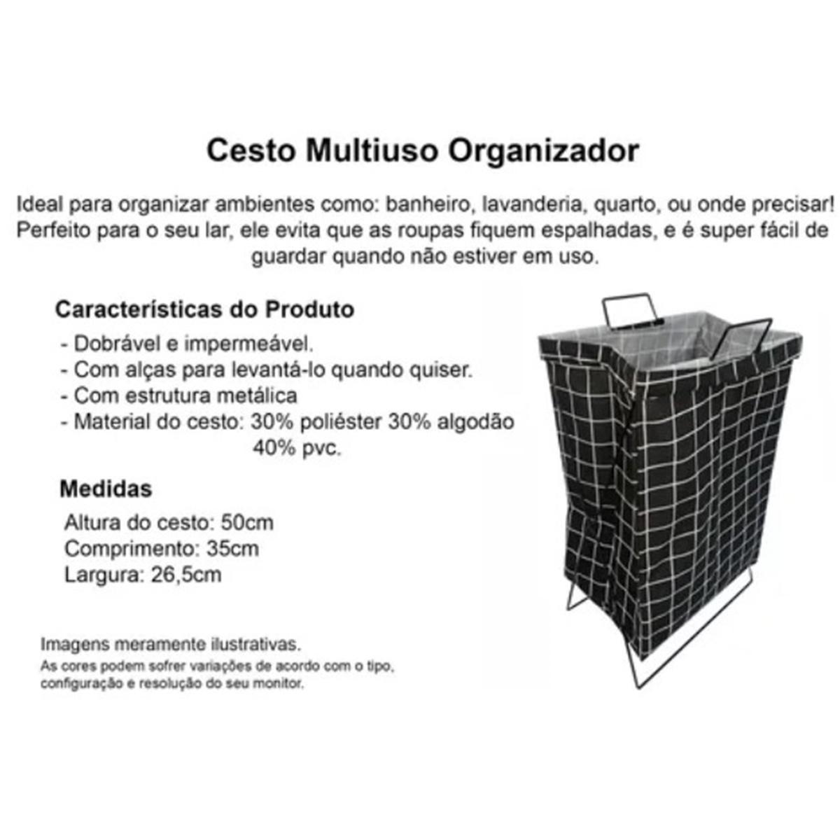 Cesto Organizador Dobrável Multiuso Roupas Brinquedos Top House TRC8438
