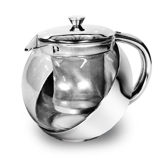 Chaleira Bule Com Infusor De Chá Vidro e Aço Inox 700ml Ke Home 5507kh-1
