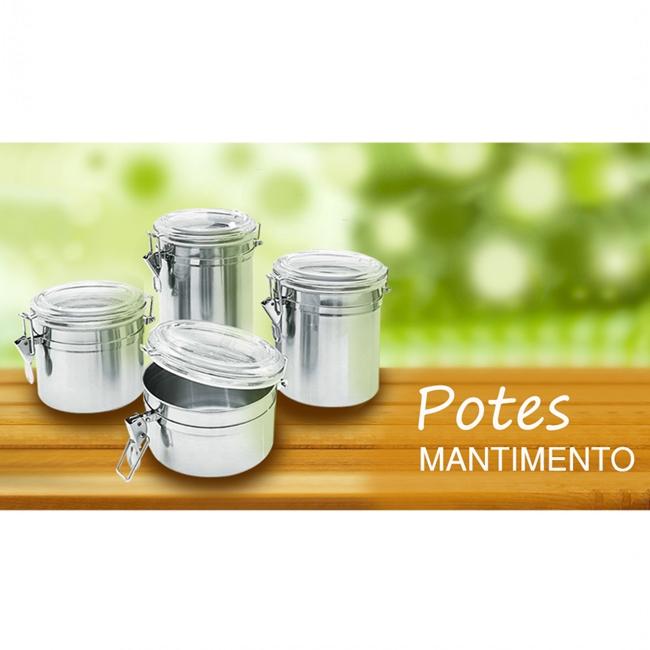 Conjunto 4 Pote Hermético Inox Tampa Acrílico Trava 6495