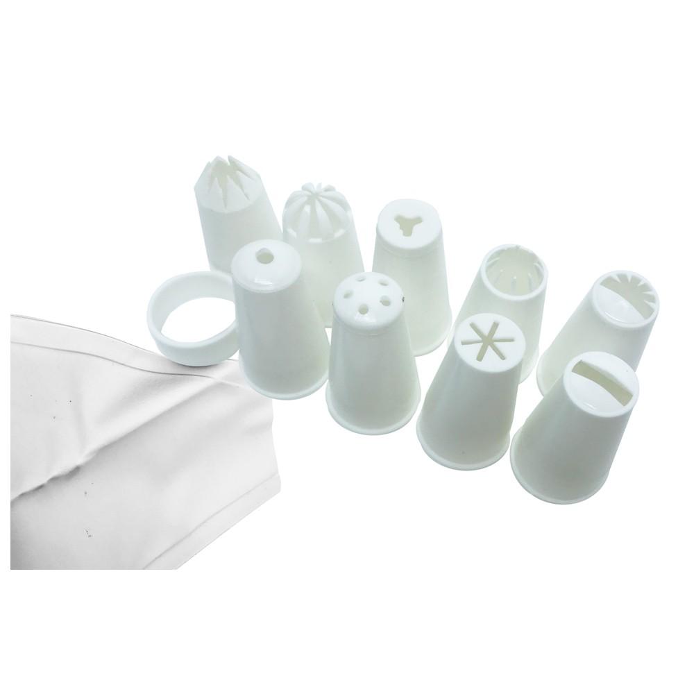Conjunto Confeiteira com 09 bicos, anel de encaixe e saco confeiteiro (manga) Decor-Útil - 122