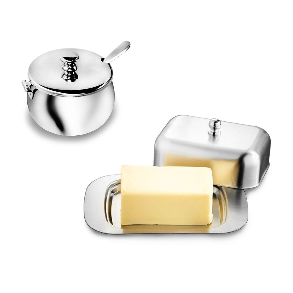Conjunto de Açucareiro e Manteigueira Luxo em aço Inox Ke Home
