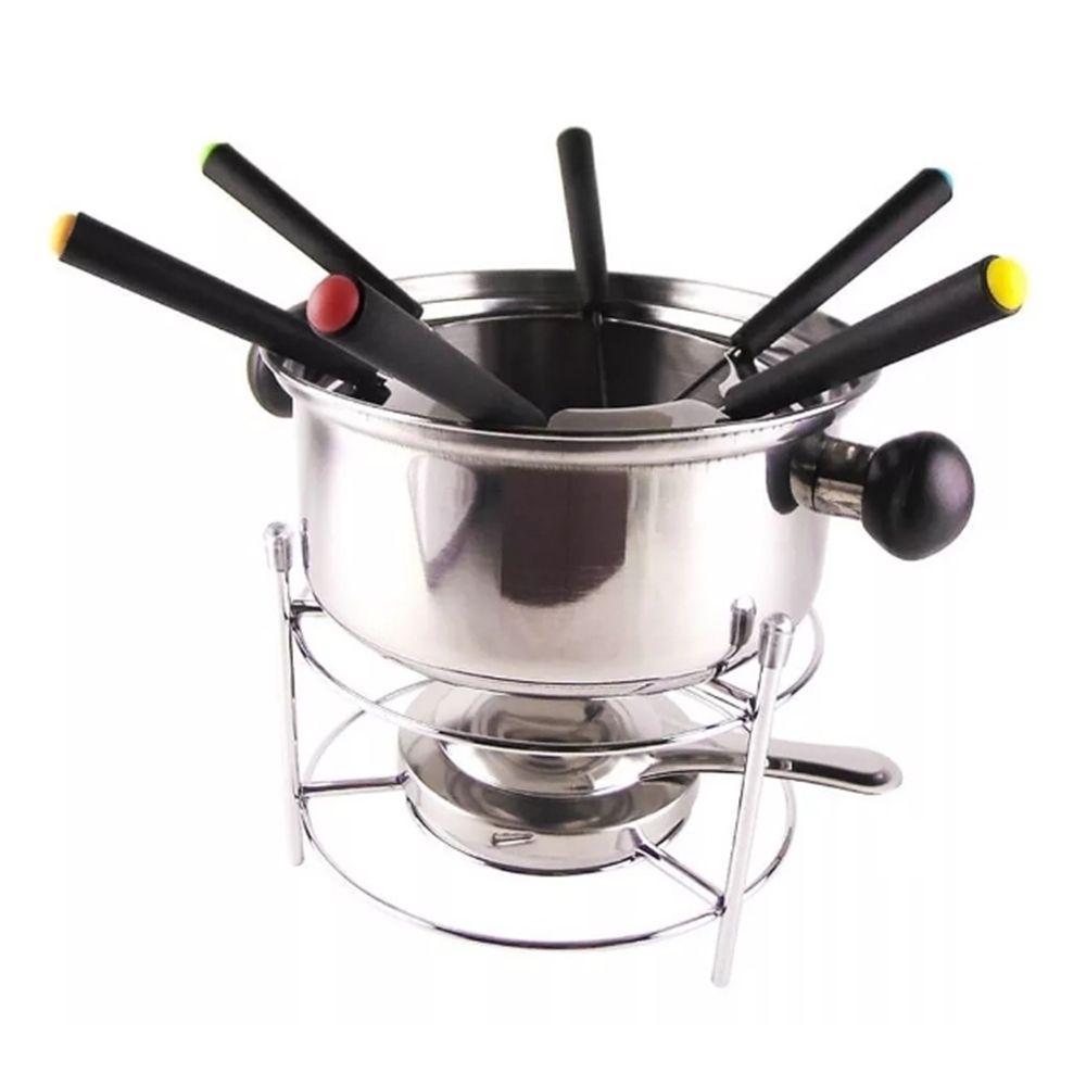 Conjunto de fondue em inox 10 peças 1 panela 1 separador de garfo 1 suporte 1 fogareiro 6 garfo Casita CA12135-1