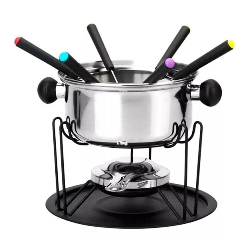 Conjunto de fondue em inox 11 peças 1 panela 1 separador 1 suporte 1 fogareiro 6 garfo 1 bandeja Casita CA12136-1