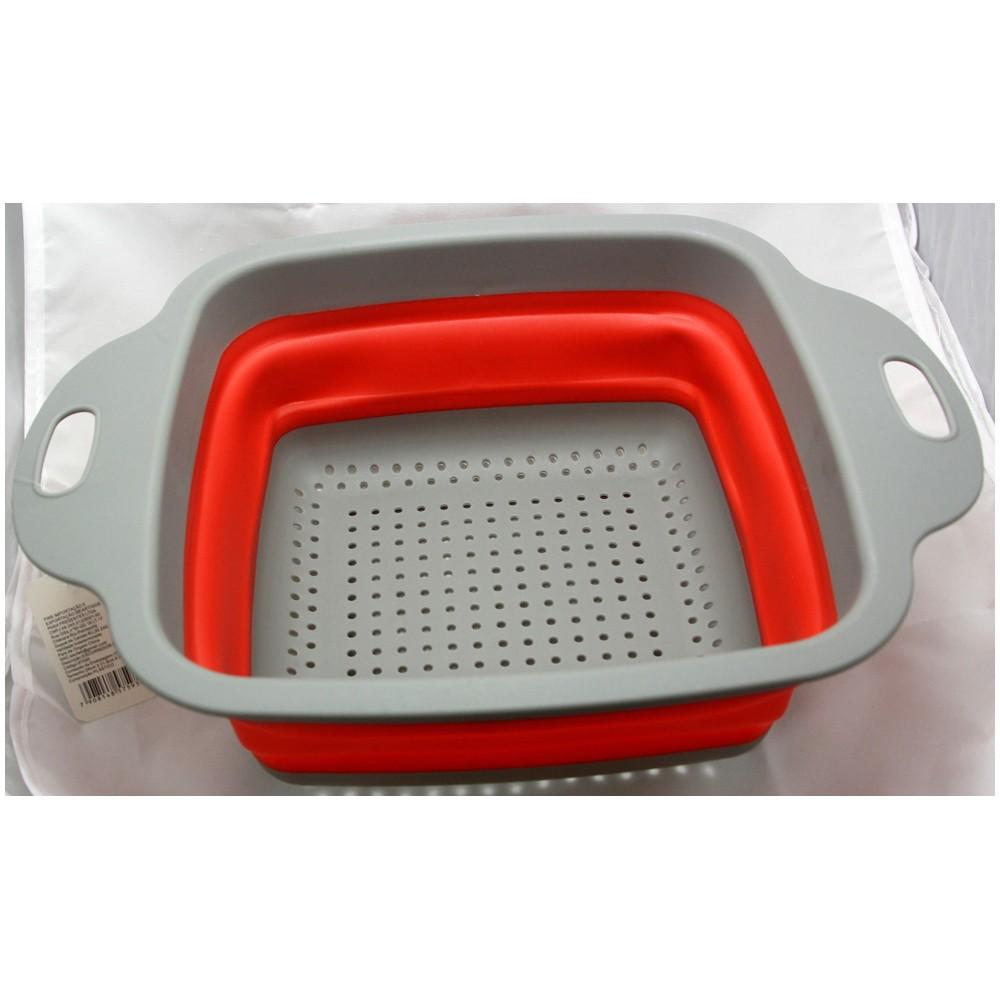 Escorredor Alimentos Massa Legume Silicone Retrátil Quadrado Cozinha FWB F-97595