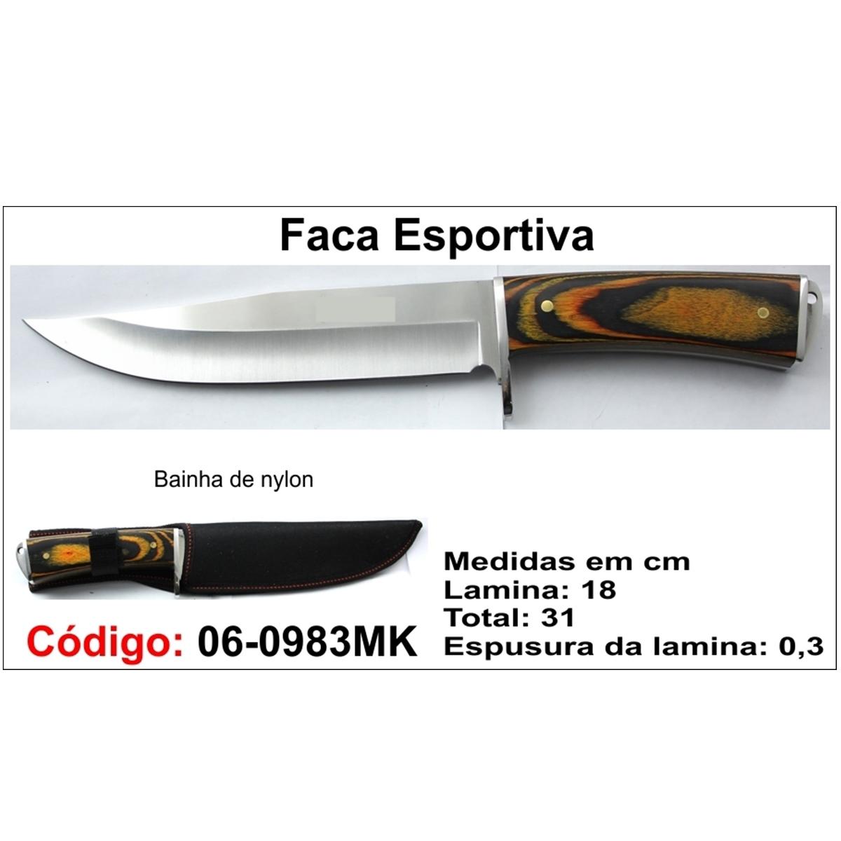 Faca Esportiva Com Bainha Modelo Caça Pesca Etc 06-0983MK