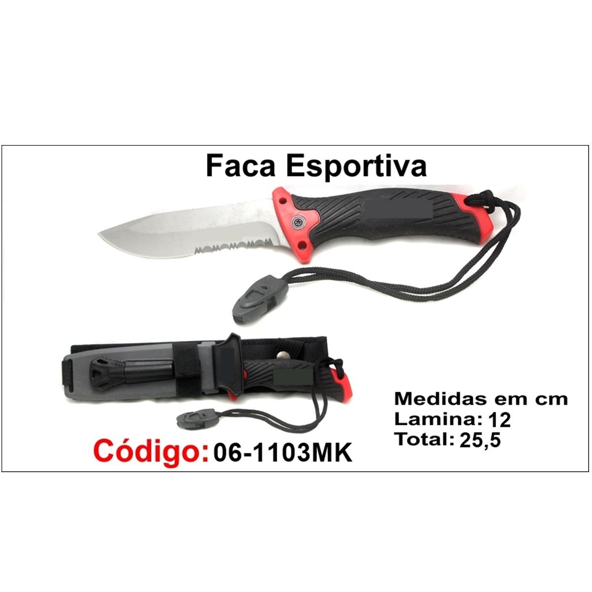 Faca Esportiva Com Bainha Modelo Caça Pesca Etc 06-1103MK