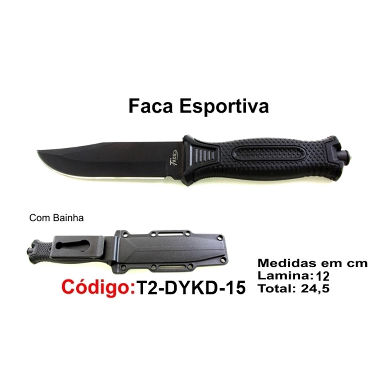 Faca Esportiva Com Bainha Rígida Modelo Caça Pesca Etc T2-DYKD-15