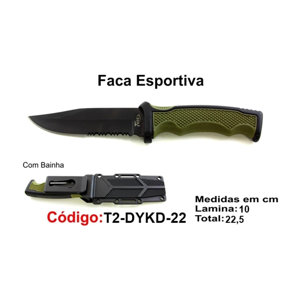 Faca Esportiva Com Bainha Rígida Modelo Caça Pesca Etc T2-DYKD-22