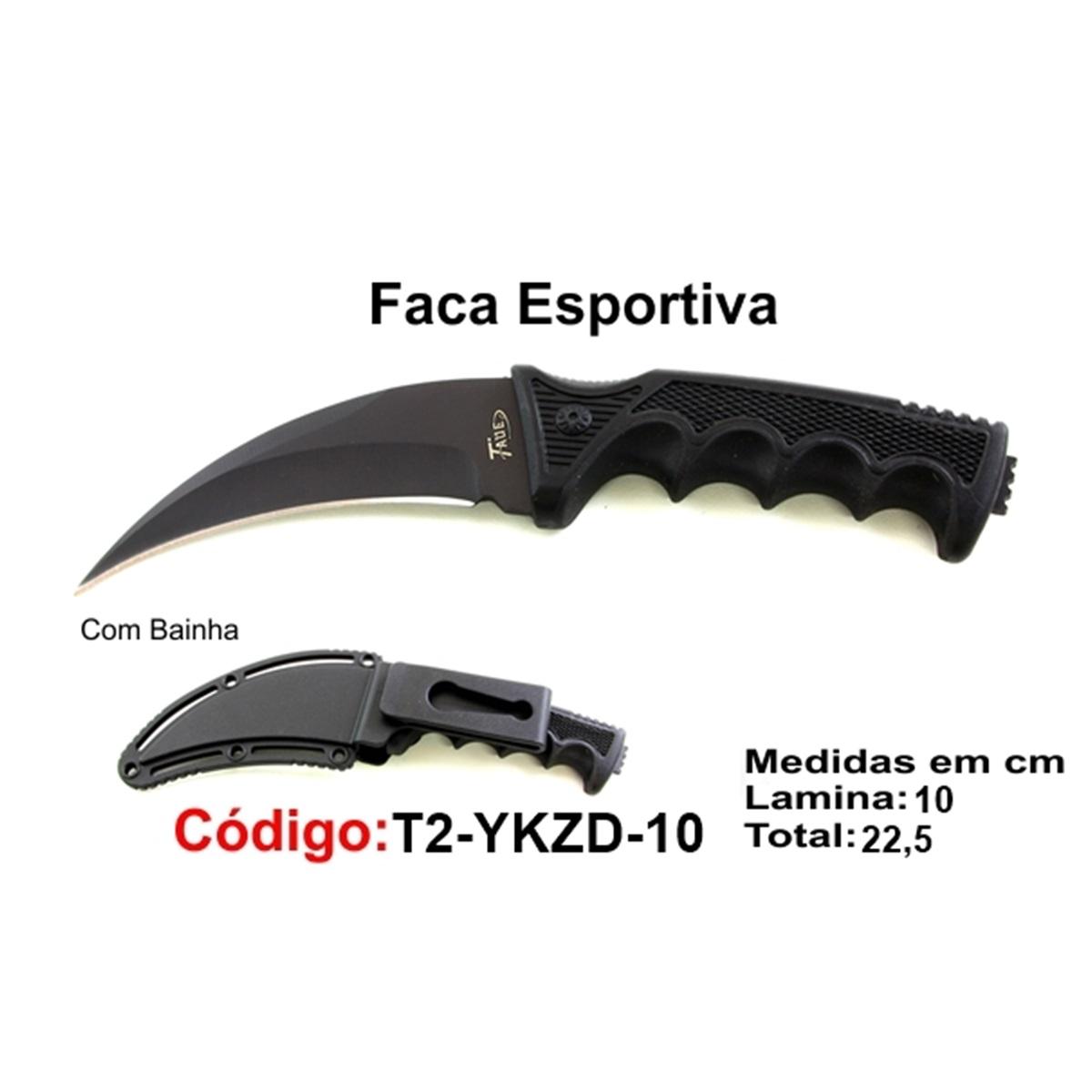 Faca Esportiva Com Bainha Rígida Modelo Caça Pesca Etc T2-YKZD-10