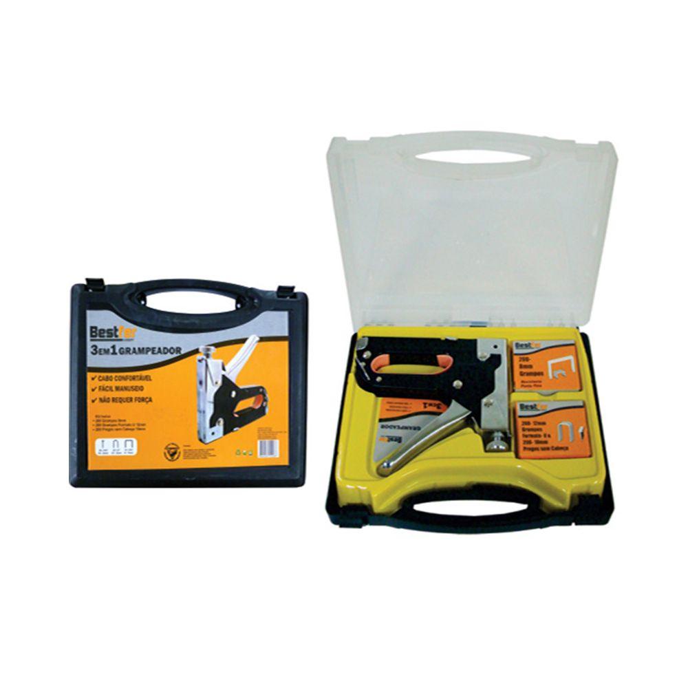 Grampeador Pinador Profissional tapeceiro de 4 a 14 mm 3 Peças Alta Pressão Bestfer Bfh0133