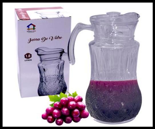 Jarra de Vidro 1,8 Litros C/ tampa Suco Água Vinho Futuro Casa FUY483