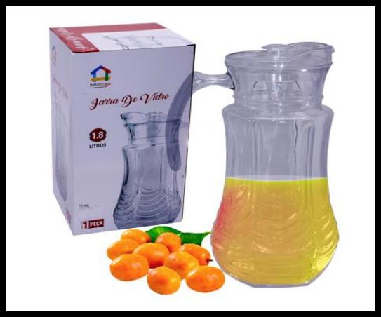 Jarra de Vidro 1,8 Litros C/ tampa Suco Água Vinho Futuro Casa FUY484