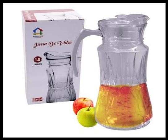 Jarra de Vidro 1,8 Litros C/ tampa Suco Água Vinho Futuro Casa FUY486