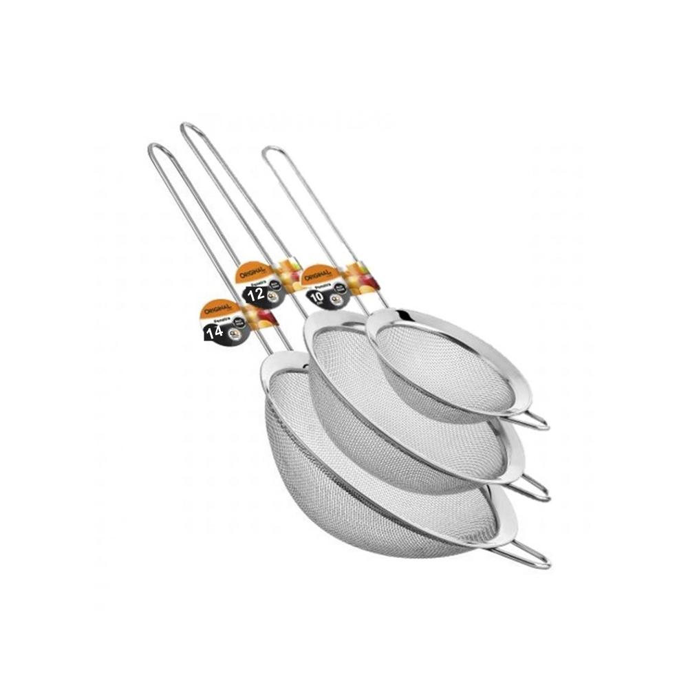 Jogo 3 Peneiras em Aço Inox Luxo 10, 12 14CM Onyx ON-4689