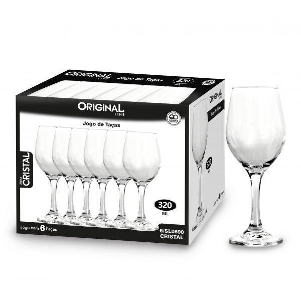 Jogo de 12 Taças de Vidro Com 320 Ml Linha Crystal Original Line Sl0890-12