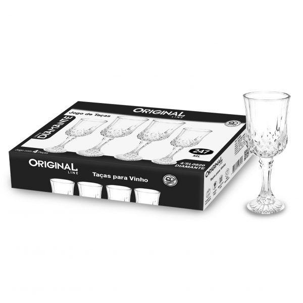 Jogo de 4 Taças para Vinho de Vidro Com 247 Ml Linha Diamante Original Line Sl0820-4