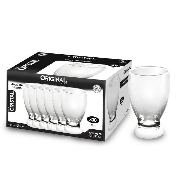 Jogo de 6 Copos de Vidro Com 300 Ml Linha Crystal Original Line Sl0878-6