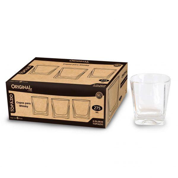 Jogo de 6 Copos para Whisky  Vidro 275 Ml Linha Crystal Original Line Sl0836-6