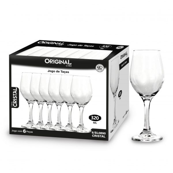 Jogo de 6 Taças de Vidro Com 320 Ml Linha Crystal Original Line Sl0890-6